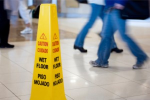 Wet floor sign at a Chattanooga business to prevent slip-and-fall accidents.